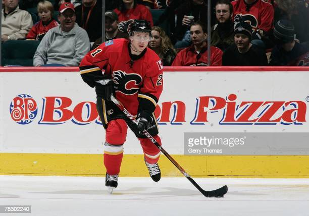 David Hale of the Calgary Flames skates against the Columbus Blue Jackets during the game on December 1, 2007 at Pengrowth Saddledome in Calgary,...