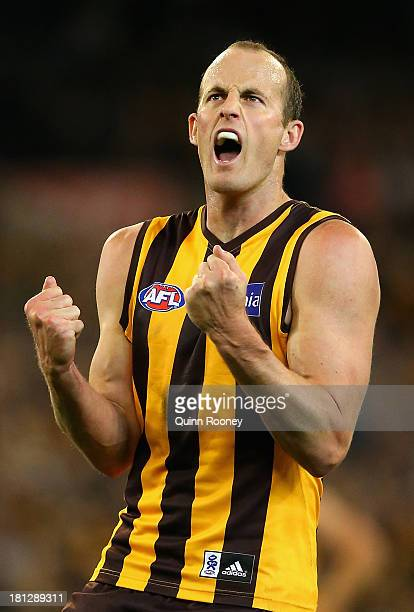 David Hale of the Hawks celebrates kicking a goal during the AFL First Preliminary FInal match between the Hawthorn Hawks and the Geelong Cats at...