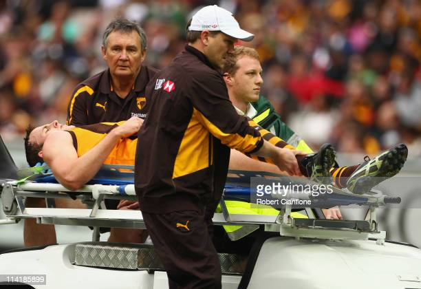 David Hale of the Hawks is taken from the ground with an injury during the round eight AFL match between the Hawthorn Hawks and the St Kilda Saints...