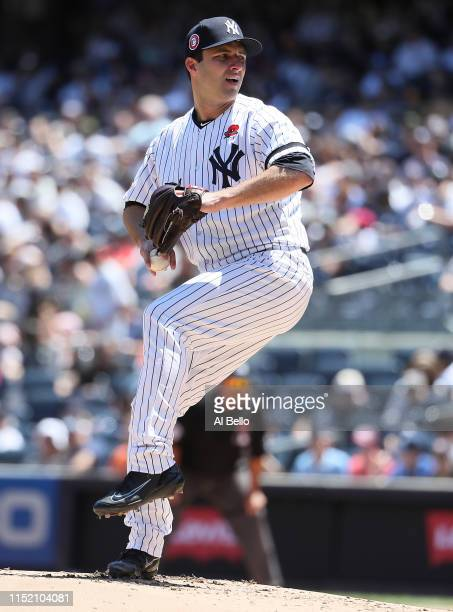 David Hale of the New York Yankees pitches against the San Diego Padres during their game at Yankee Stadium on May 27 2019 in New York City