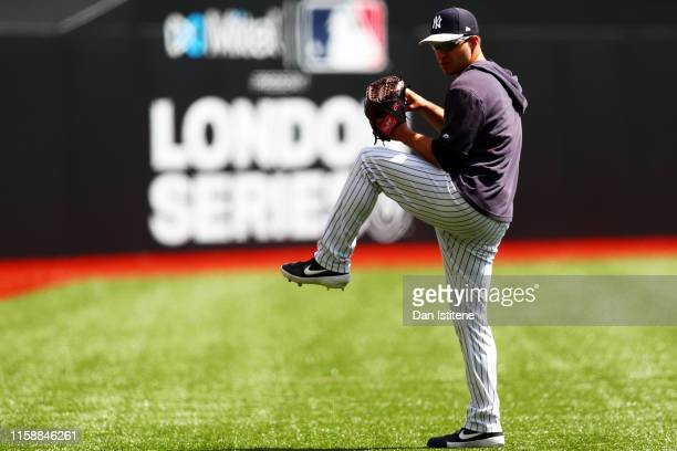 David Hale of the New York Yankees takes part in a team workout on the field during previews ahead of the MLB London Series games between Boston Red...