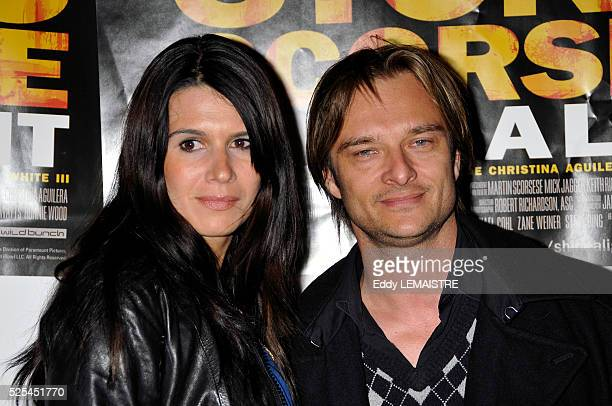 David Hallyday and Alexandra Pastor attend the premiere of Shine a Light in Paris