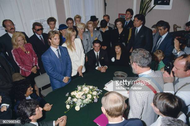 David Hallyday and Estelle Lefebure at the city hall on their wedding day Saint Martin de Boscherville France 15th September 1989