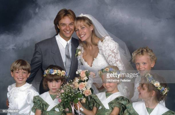 David Hallyday and Estelle Lefebure posing on their wedding day Saint Martin de Boscherville France 15th September 1989
