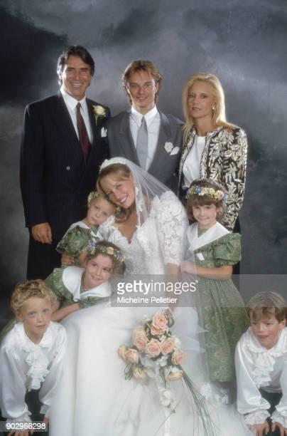 David Hallyday and Estelle Lefebure posing with Sylvie Vartan and Tony Scotti on their wedding day, Saint Martin de Boscherville, France, 15th...