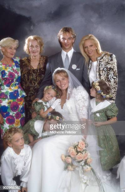 David Hallyday and Estelle Lefebure posing with with Denise Lefebure mother of Estelle with David's mother Sylvie Vartan and his gandmother Ilona...