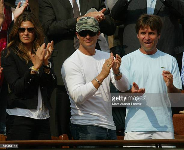 David Hallyday and his wife Alexandra Pastor attend the 2007 French Open at Roland Garros arena in Paris France on June 5 2007