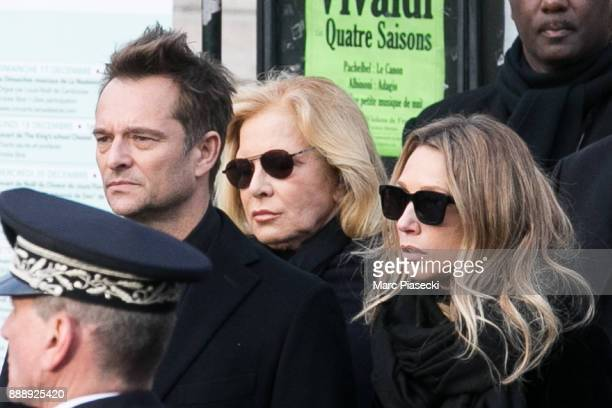 David Hallyday his mother Sylvie Vartan and his sister Laura Smet are seen during Johnny Hallyday's funerals at Eglise De La Madeleine on December 9...