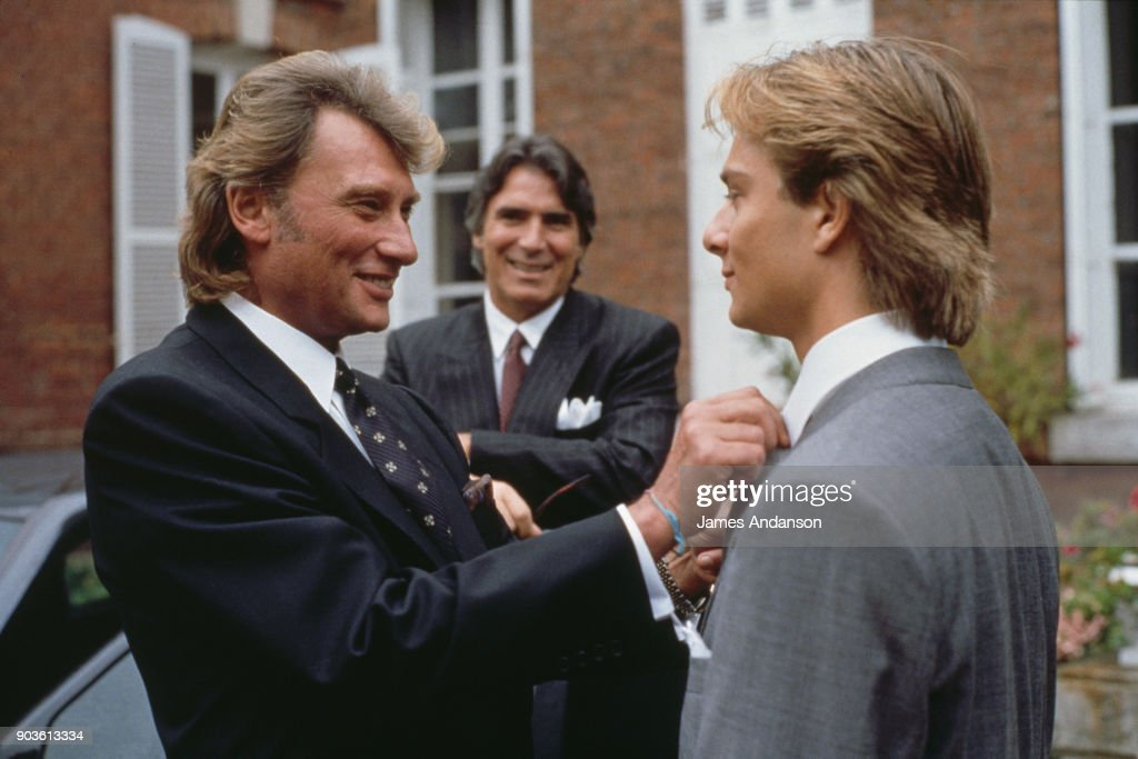David Hallyday with his father Johnny Hallyday and his father-in-law Tony Scotti on his wedding day with Estelle Lefebure in St.-Martin de Boscherville at St. Georges Church 15th September 1989