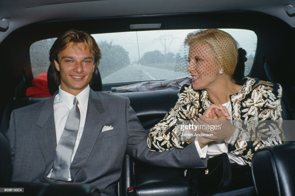 David Hallyday with his mother Sylvie Vartan, on his wedding day with Estelle Lefebure in St.-Martin de Boscherville at St. Georges Church 15th September 1989