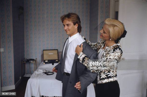 David Hallyday with his mother Sylvie Vartan on his wedding day with Estelle Lefebure 15th September 1989