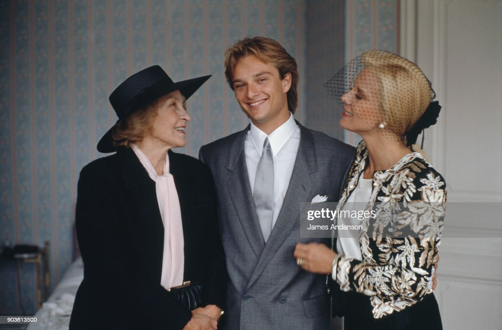 David Hallyday with is mother, Sylvie Vartan and his grandmother Ilona Vartan on his wedding day with Estelle Lefebure, 15th September 1989