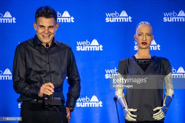 David Hanson, SingularityNET Founder , gives a press conference with Sophia, the female robot during the day 3 of the annual Web Summit technology...