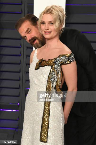 David Harbour and Alison Sudol attends the 2019 Vanity Fair Oscar Party hosted by Radhika Jones at Wallis Annenberg Center for the Performing Arts on...
