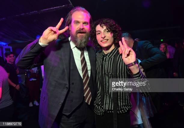 David Harbour and Finn Wolfhard attend the Stranger Things Season 3 World Premiere on June 28 2019 in Santa Monica California
