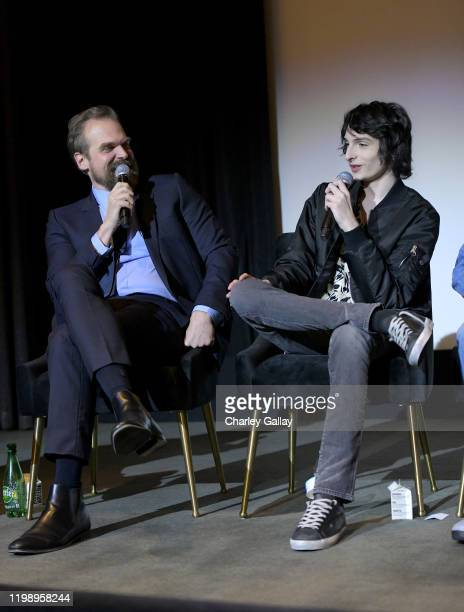 David Harbour and Finn Wolfhard speak onstage during Netflix's Stranger Things QA and Reception at Pacific Design Center on January 11 2020 in West...