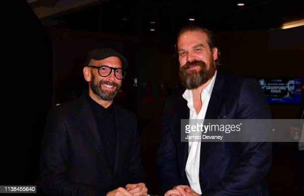 David Harbour and guest attend Top Rank VIP party prior to the WBO welterweight title fight between Terence Crawford and Amir Khan at Madison Square...
