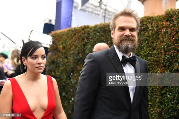 David Harbour and Lily Allen attend the 26th Annual Screen ActorsGuild Awards at The Shrine Auditorium on January 19 2020 in Los Angeles California...