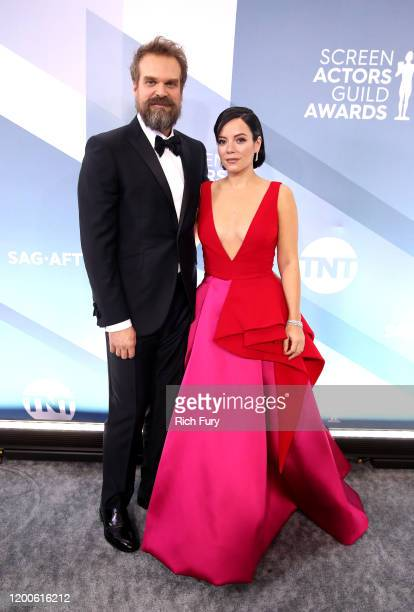 David Harbour and Lily Allen attend the 26th Annual Screen Actors Guild Awards at The Shrine Auditorium on January 19, 2020 in Los Angeles,...