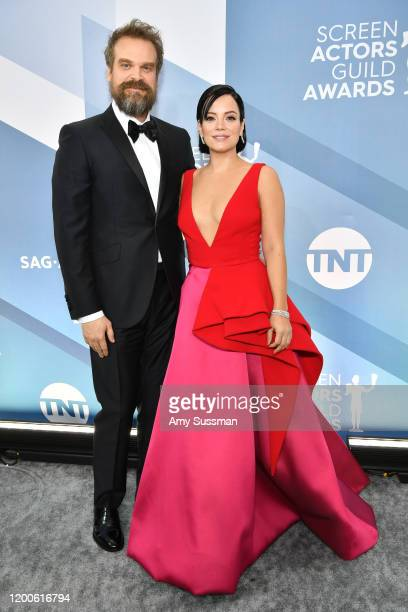 David Harbour and Lily Allen attend the 26th Annual Screen Actors Guild Awards at The Shrine Auditorium on January 19 2020 in Los Angeles California