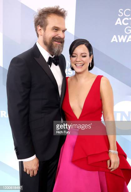 David Harbour and Lily Allen attend the 26th Annual Screen ActorsGuild Awards at The Shrine Auditorium on January 19 2020 in Los Angeles California