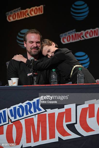 David Harbour and Millie Bobby Brown speak onstage at Inside the Upside Down with Millie Bobby Brown and David Harbour at Jacob Javits Center on...