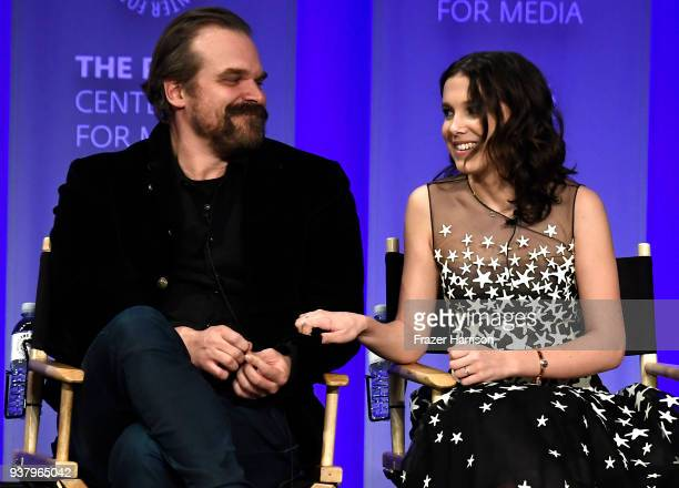 "David Harbour and Millie Bobby Brown speak onstage at The Paley Center For Media's 35th Annual PaleyFest Los Angeles - ""Stranger Things"" at Dolby..."