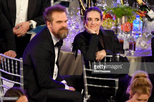David Harbour and Winona Ryder attend the 26th Annual Screen ActorsGuild Awards at The Shrine Auditorium on January 19 2020 in Los Angeles...