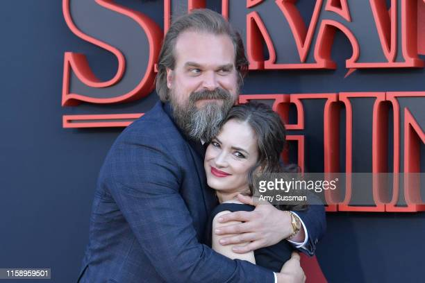 "David Harbour and Winona Ryder attend the premiere of Netflix's ""Stranger Things"" Season 3 on June 28, 2019 in Santa Monica, California."