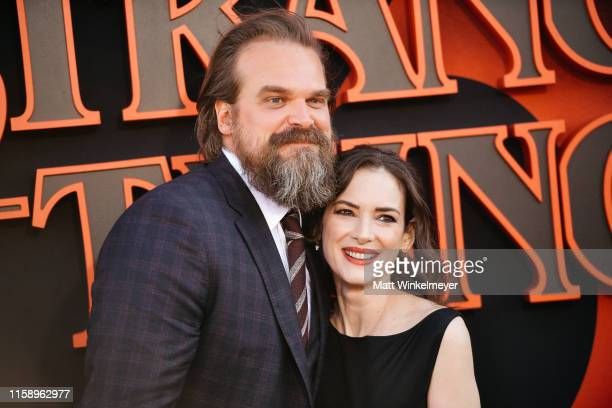 """David Harbour and Winona Ryder attend the premiere of Netflix's """"Stranger Things"""" Season 3 on June 28, 2019 in Santa Monica, California."""