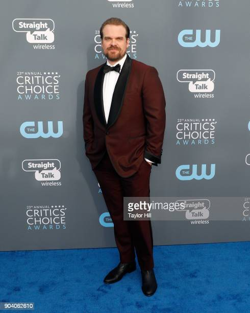 David Harbour attends the 23rd Annual Critics' Choice Awards at Barker Hangar on January 11 2018 in Santa Monica California