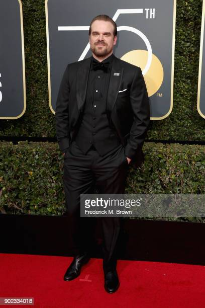 David Harbour attends The 75th Annual Golden Globe Awards at The Beverly Hilton Hotel on January 7 2018 in Beverly Hills California
