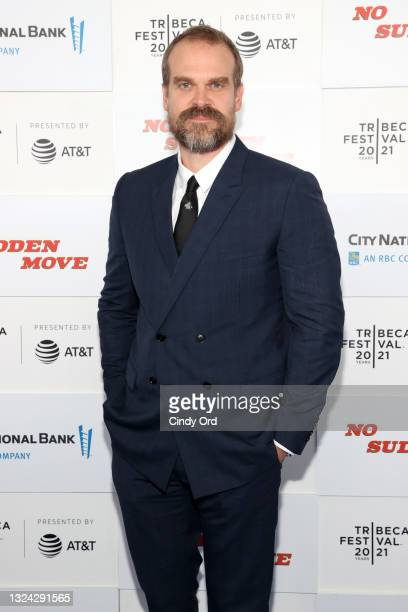 """David Harbour attends the """"No Sudden Move"""" premiere during the 2021 Tribeca Festival at Battery Park on June 18, 2021 in New York City."""