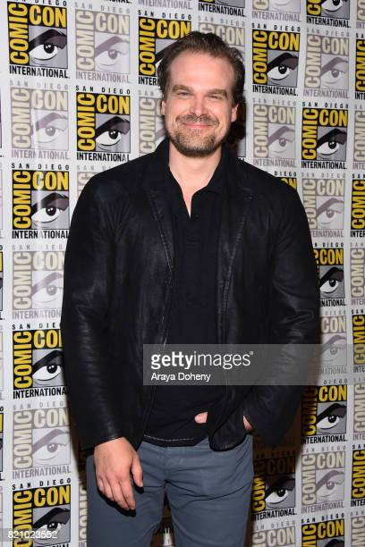 David Harbour attends the 'Stranger Things' press conference at ComicCon International 2017 on July 22 2017 in San Diego California