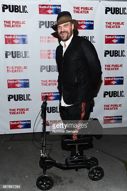 David Harbour attends 'Troilus And Cressida' Opening Night at Delacorte Theater on August 9 2016 in New York City