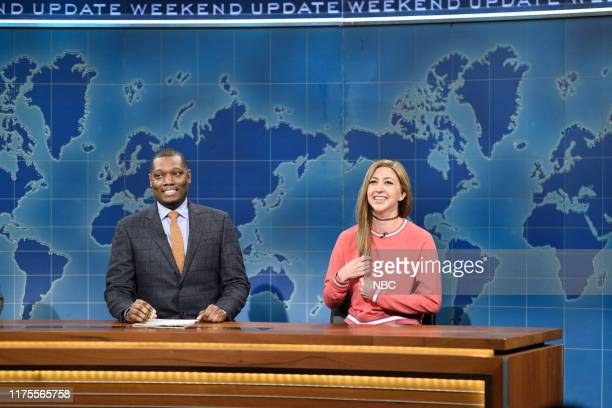 LIVE David Harbour Episode 1770 Pictured Anchor Michael Che and Heidi Gardner as Bailey Gismert during Weekend Update on Saturday October 12 2019