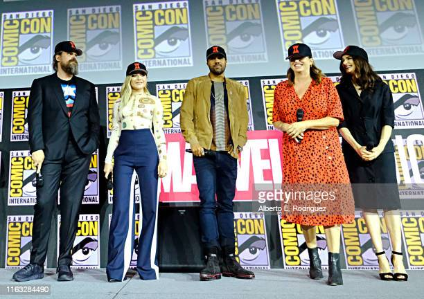 David Harbour Florence Pugh OT Fagbenle Director Cate Shortland and Rachel Weisz of Marvel Studios' 'Black Widow' at the San Diego ComicCon...