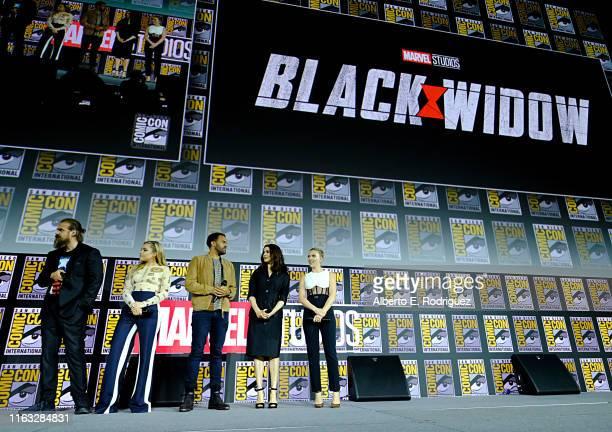 David Harbour, Florence Pugh, O-T Fagbenle, Rachel Weisz and Scarlett Johansson of Marvel Studios' 'Black Widow' at the San Diego Comic-Con...