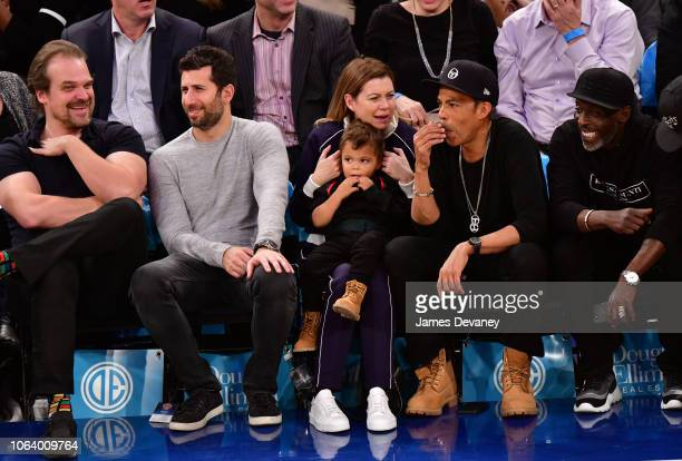 David Harbour guest Ellen Pompeo Eli Ivery Chris Ivery and Michael K Williams attend the Portland Trail Blazers vs New York Knicks game at Madison...