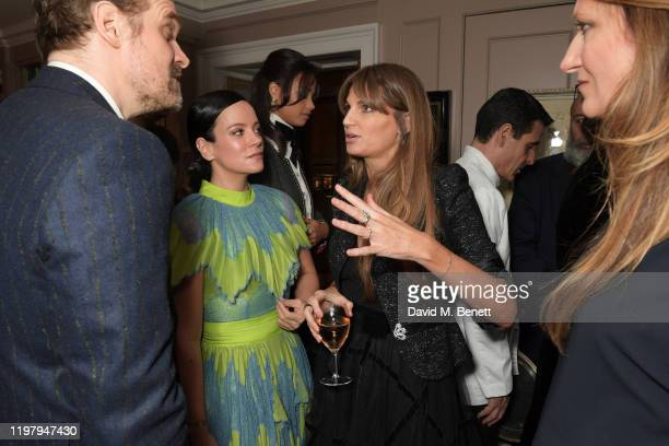 David Harbour Lily Allen and Jemima Goldsmith attend the Charles Finch CHANEL PreBAFTA Party at 5 Hertford Street on February 1 2020 in London England
