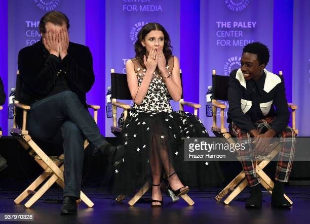 David Harbour Millie Bobby Brown and Caleb McLaughlin speak onstage at The Paley Center for Media's 35th Annual PaleyFest Los Angeles Stranger Things...