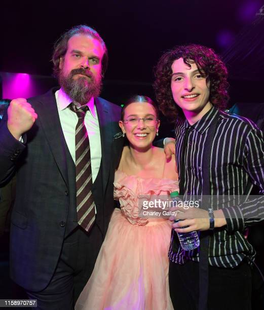 David Harbour Millie Bobby Brown and Finn Wolfhard attend the Stranger Things Season 3 World Premiere on June 28 2019 in Santa Monica California