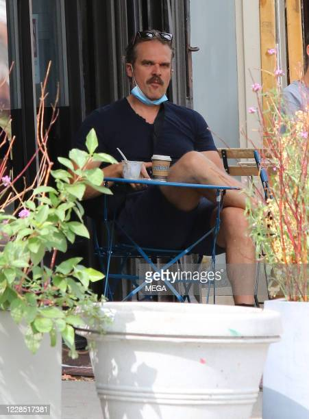 "David Harbour of ""Stranger Things"" sits at a table with a mask on September 14, 2020 in New York City, New York."