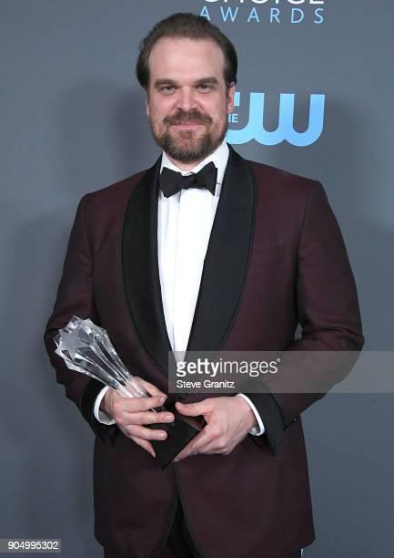 David Harbour poses at the The 23rd Annual Critics' Choice Awards at Barker Hangar on January 11 2018 in Santa Monica California