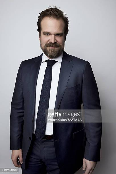 David Harbour poses for a portraits at the BAFTA Tea Party at Four Seasons Hotel Los Angeles at Beverly Hills on January 7 2017 in Los Angeles...