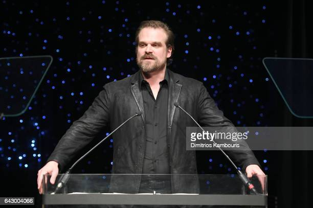 David Harbour speaks onstage during 69th Writers Guild Awards New York Ceremony at Edison Ballroom on February 19 2017 in New York City