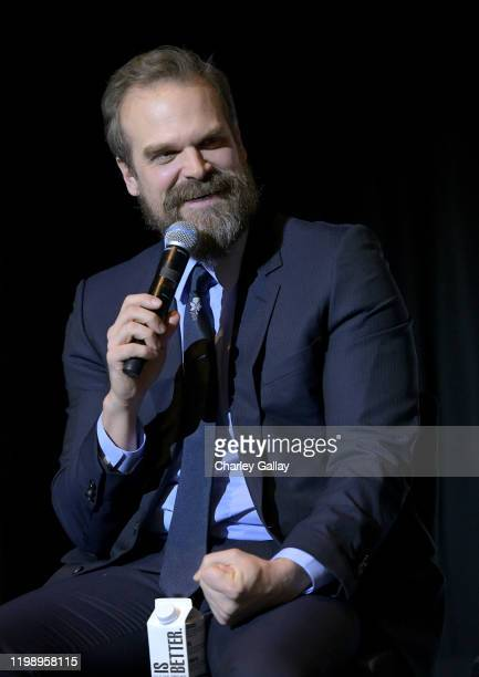 "David Harbour speaks onstage during Netflix's ""Stranger Things"" Q&A and Reception at Pacific Design Center on January 11, 2020 in West Hollywood,..."