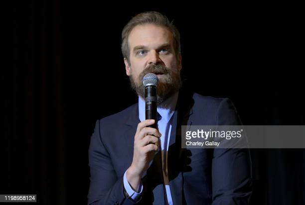 David Harbour speaks onstage during Netflix's Stranger Things QA and Reception at Pacific Design Center on January 11 2020 in West Hollywood...