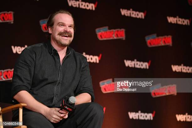 David Harbour speaks onstage during the Hellboy panel during New York Comic Con at Jacob Javits Center on October 6 2018 in New York City