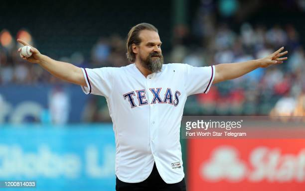 "David Harbour, who plays Chief Jim Hopper on the Netflix series ""Stranger Things,"" gets ready to throw out the ceremonial first pitch before a game..."